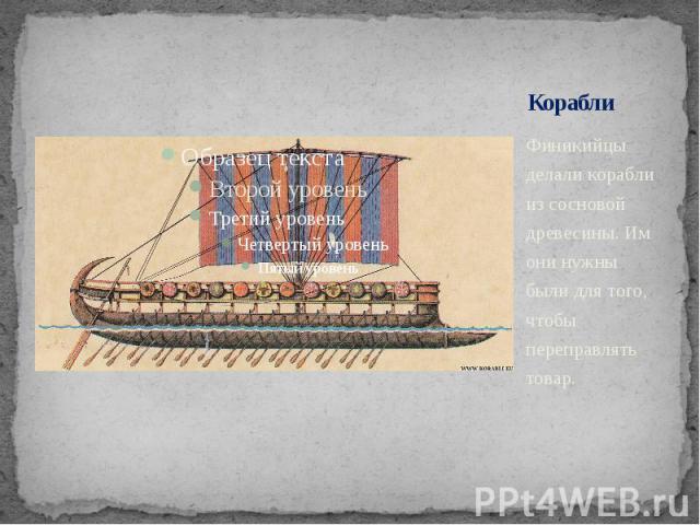 Корабли Финикийцы делали корабли из сосновой древесины. Им они нужны были для того, чтобы переправлять товар.