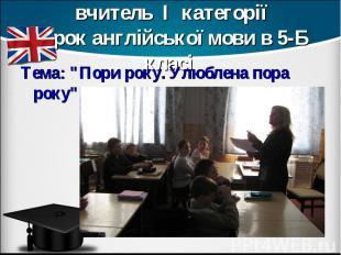 Голуб Лариса Яківна, вчитель І категорії Урок англійської мови в 5-Б класі Тема:
