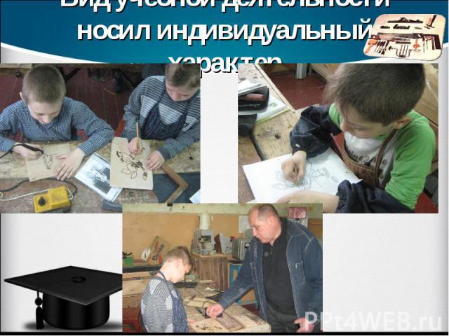 Вид учебной деятельности носил индивидуальный характер