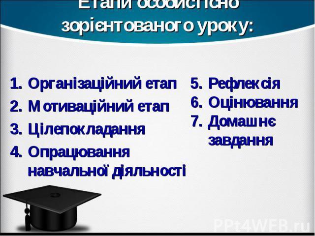 Етапи особистісно зорієнтованого уроку: Організаційний етапМотиваційний етапЦілепокладання Опрацювання навчальної діяльностіРефлексіяОцінюванняДомашнє завдання