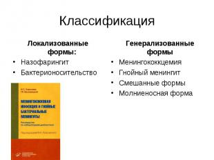 Классификация Локализованные формы: Назофарингит Бактерионосительство