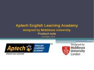 Aptech English Learning Academy designed by Middlesex University. Product note с