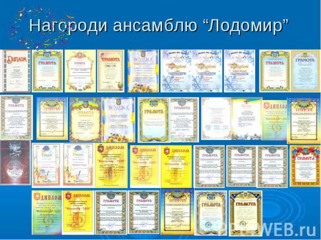 "Нагороди ансамблю ""Лодомир"""