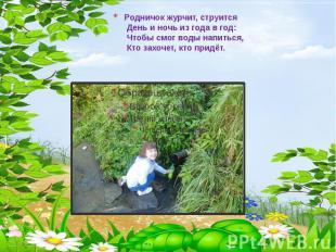 Родничок журчит, струится День и ночь из года в год: Чтобы смог воды напиться, К