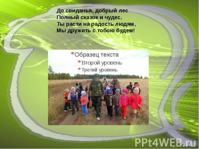До свиданья, добрый лес Полный сказок и чудес.  Ты расти на радость людям,  Мы дружить с тобою будем!