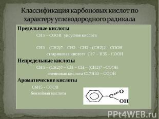 Предельные кислоты Предельные кислоты СН3 – СООН уксусная кислота СН3 – (СН2)7 –