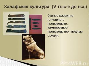 Халафская культура (V тыс-е до н.э.)бурное развитие гончарного производств, камн