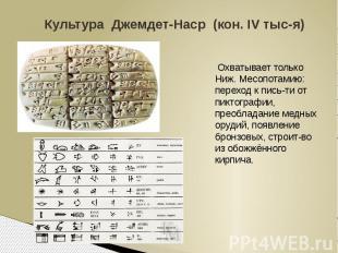 Культура Джемдет-Наср (кон. IV тыс-я) Охватывает только Ниж. Месопотамию: перехо