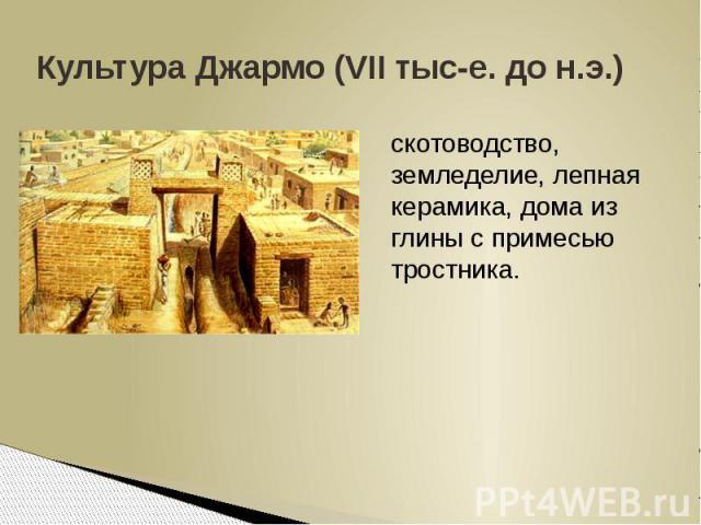 Культура Джармо (VII тыс-е. до н.э.)скотоводство, земледелие, лепная керамика, дома из глины с примесью тростника.