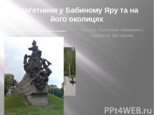 Пам'ятники у Бабиному Яру та на його околицях Пам'ятник радянським громадянам і