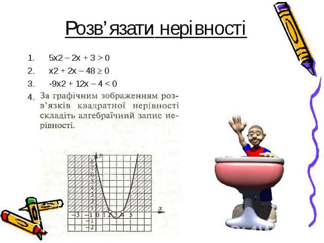 5х2 – 2х + 3 > 0 5х2 – 2х + 3 > 0 x2 + 2x – 48 ≥ 0 -9x2 + 12x – 4 < 0