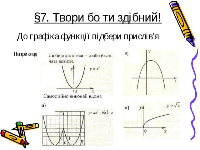 До графіка функції підбери прислів'я До графіка функції підбери прислів'я