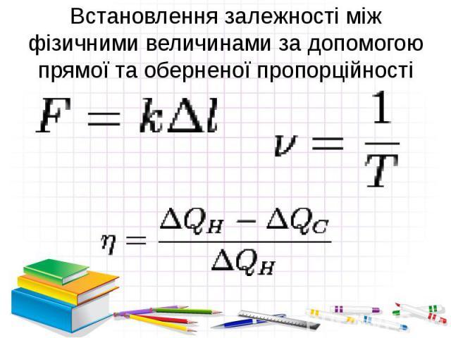 Встановлення залежності між фізичними величинами за допомогою прямої та оберненої пропорційності