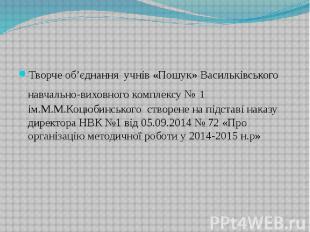 Творче об'єднання учнів «Пошук» Васильківського навчально-виховного комплексу №