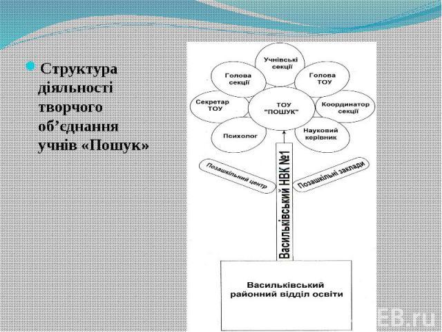 Структура діяльності творчого об'єднання учнів «Пошук» Структура діяльності творчого об'єднання учнів «Пошук»