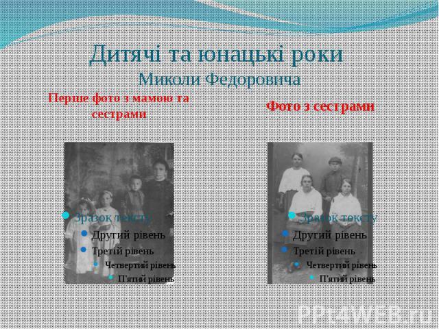 Дитячі та юнацькі роки Миколи Федоровича Перше фото з мамою та сестрами