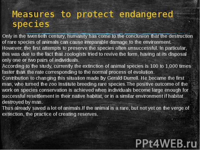 Measures to protect endangered species