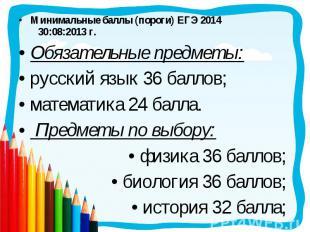 Минимальные баллы (пороги) ЕГЭ 2014 30:08:2013 г. Минимальные баллы (пороги) ЕГЭ