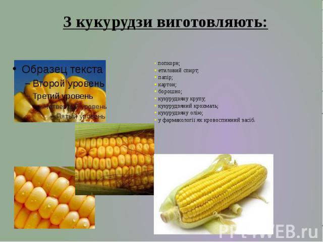 • попкорн; • етиловий спирт; • папір; • картон; • борошно; • кукурудзяну крупу; • кукурудзяний крохмаль; • кукурудзяну олію; • у фармакології як кровоспинний засіб.