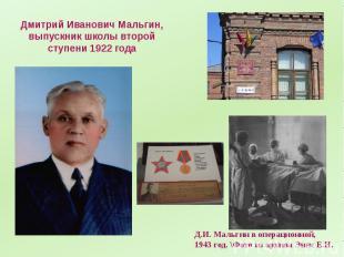 Дмитрий Иванович Мальгин, выпускник школы второй ступени 1922 года