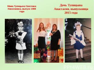 Мама Тупицына Светлана Николаевна, выпуск 1988 года