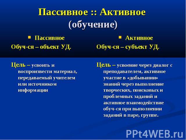 Пассивное :: Активное (обучение) Пассивное Обуч-ся – объект УД. Цель – усвоить и воспроизвести материал, передаваемый учителем или источником информации