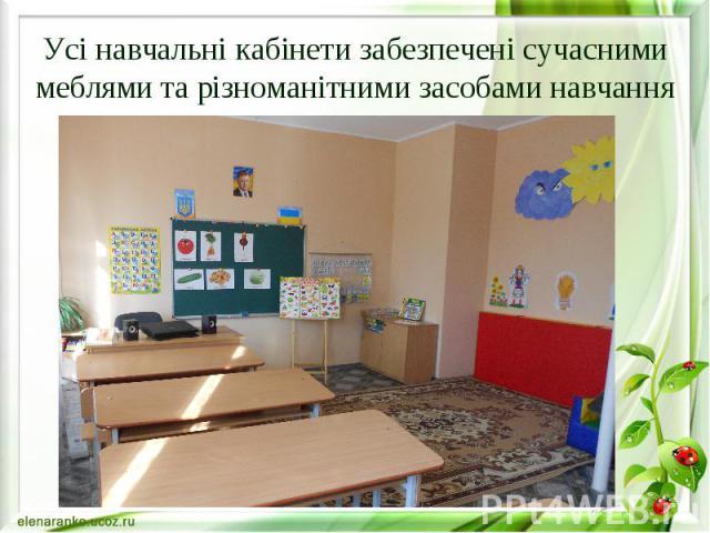 Усі навчальні кабінети забезпечені сучасними меблями та різноманітними засобами навчання