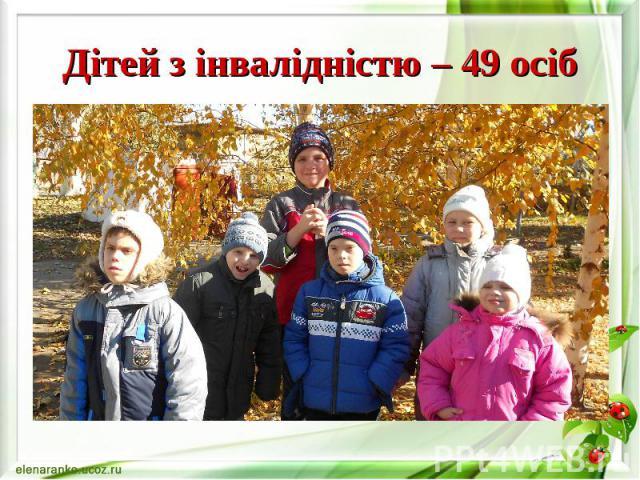 Дітей з інвалідністю – 49 осіб