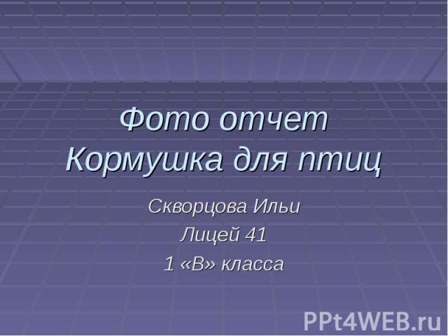 Фото отчет Кормушка для птиц Скворцова Ильи Лицей 41 1 «В» класса