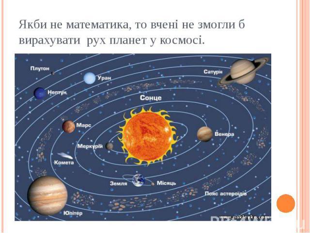 Якби не математика, то вчені не змогли б вирахувати рух планет у космосі.