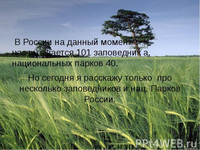 В России на данный момент насчитывается 101 заповедник а, национальных парков 40. Но сегодня я расскажу только про несколько заповедников и нац. Парков России.