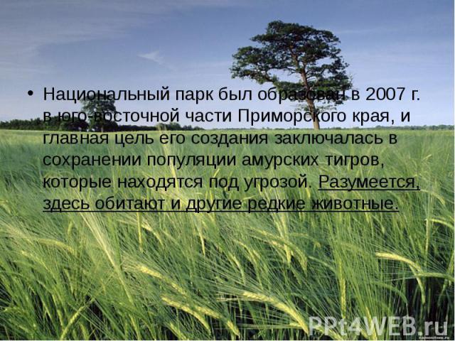 Национальный парк был образован в 2007 г. в юго-восточной части Приморского края, и главная цель его создания заключалась в сохранении популяции амурских тигров, которые находятся под угрозой.Разумеется, здесь обитают и другие редкие животные.