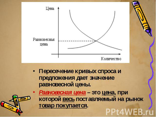 Пересечение кривых спроса и предложения дает значение равновесной цены. Пересечение кривых спроса и предложения дает значение равновесной цены. Равновесная цена – это цена, при которой весь поставляемый на рынок товар покупается.
