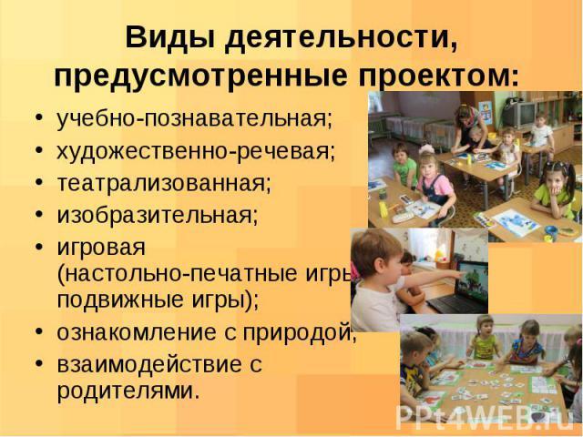 учебно-познавательная; учебно-познавательная; художественно-речевая; театрализованная; изобразительная; игровая (настольно-печатные игры, подвижные игры); ознакомление с природой; взаимодействие с родителями.
