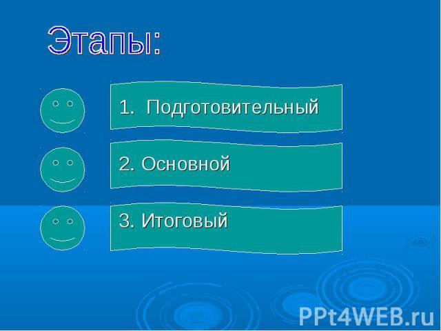 1. Подготовительный 1. Подготовительный 2. Основной 3. Итоговый