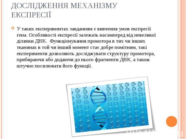 У таких експериментах завданням є вивчення умов експресії гена. Особливості експресії залежать насамперед від невеликої ділянки ДНК. Функціонуванняпромоторав тих чи інших тканинах в той чи інший момент стає добре помітним, такі експериме…