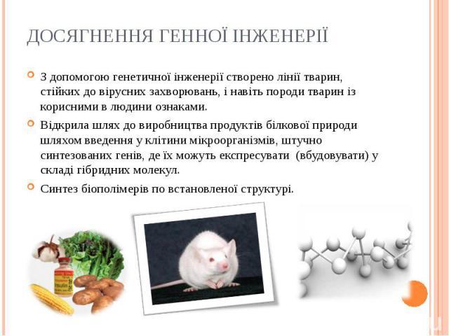 З допомогою генетичної інженерії створено лінії тварин, стійких до вірусних захворювань, і навіть породи тварин із корисними в людини ознаками. З допомогою генетичної інженерії створено лінії тварин, стійких до вірусних захворювань, і навіть породи …