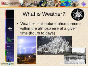 What is Weather? Weather = all natural phenonmena within the atmosphere at a giv