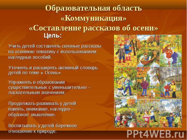 Образовательная область «Коммуникация»«Составление рассказов об осени»