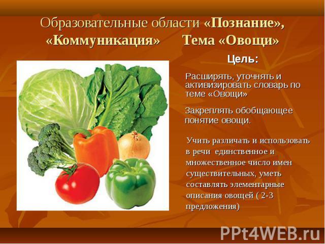 Образовательные области «Познание», «Коммуникация» Тема «Овощи»Расширять, уточнять и активизировать словарь по теме «Овощи»Закреплять обобщающее понятие овощи.Учить различать и использоватьв речи единственное имножественное число именсуществительных…