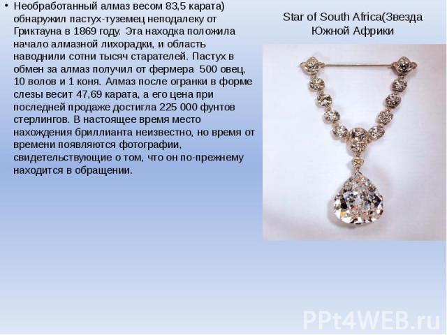 Star of South Africa(Звезда Южной Африки Необработанный алмаз весом 83,5 карата) обнаружил пастух-туземец неподалеку от Гриктауна в 1869 году. Эта находка положила начало алмазной лихорадки, и область наводнили сотни тысяч старателей. Пастух в обмен…