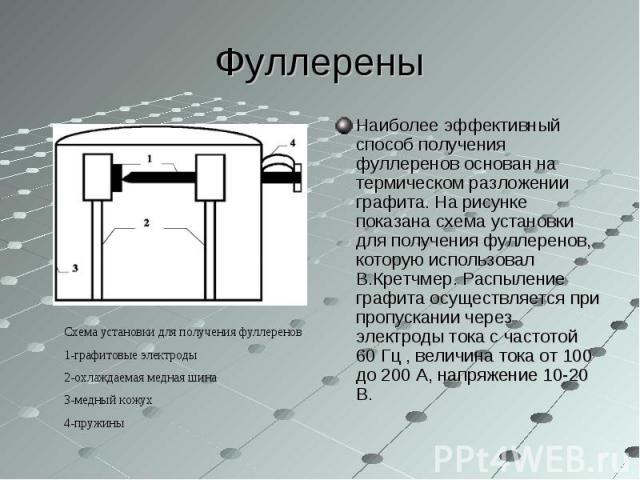 Наиболее эффективный способ получения фуллеренов основан на термическом разложении графита. На рисунке показана схема установки для получения фуллеренов, которую использовал В.Кретчмер. Распыление графита осуществляется при пропускании через электро…