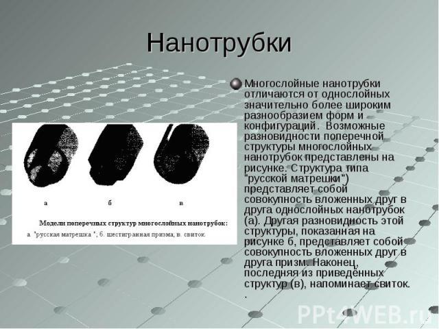 """Многослойные нанотрубки отличаются от однослойных значительно более широким разнообразием форм и конфигураций. Возможные разновидности поперечной структуры многослойных нанотрубок представлены на рисунке. Структура типа """"русской матрешки&…"""