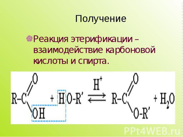 Реакция этерификации – взаимодействие карбоновой кислоты и спирта. Реакция этерификации – взаимодействие карбоновой кислоты и спирта.