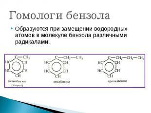 Образуются при замещении водородных атомов в молекуле бензола различными радикал