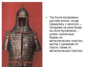 Так были вооружены русские воины, когда сражались с монголо – татарами на реке В