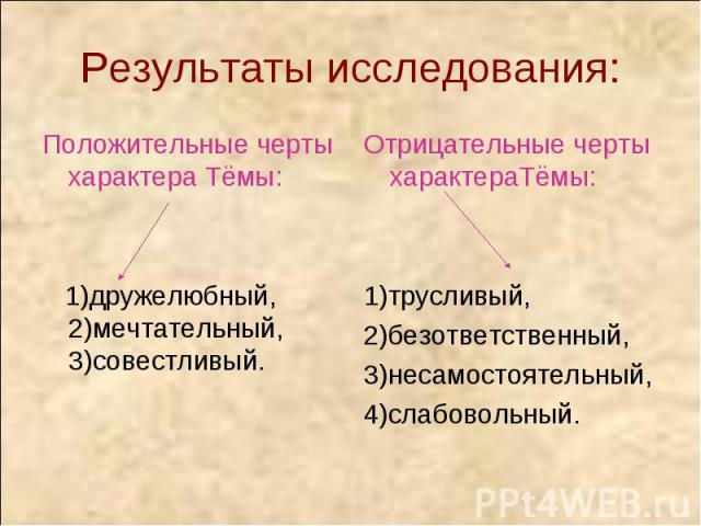 Результаты исследования: Положительные черты характера Тёмы: 1)дружелюбный, 2)мечтательный, 3)совестливый.Отрицательные черты характераТёмы: 1)трусливый,2)безответственный,3)несамостоятельный, 4)слабовольный.