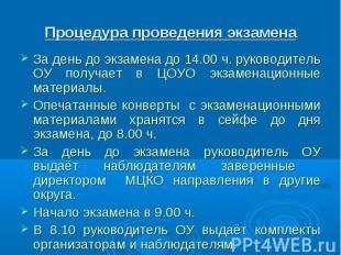 Процедура проведения экзамена За день до экзамена до 14.00 ч. руководитель ОУ по