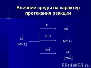 Влияние среды на характер протекания реакции