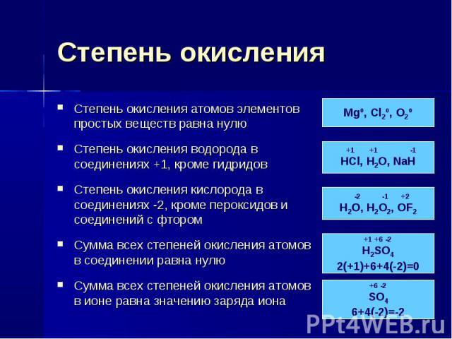 Степень окисления Степень окисления атомов элементов простых веществ равна нулюСтепень окисления водорода в соединениях +1, кроме гидридовСтепень окисления кислорода в соединениях -2, кроме пероксидов и соединений с фторомСумма всех степеней окислен…